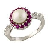 Серебряное кольцо Валентия с жемчугом, синтезированным рубином и фианитами