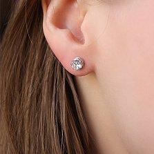 Серебряные серьги-пуссеты Вира с цирконием