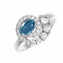 Серебряное кольцо Галактика с кварцем под топаз лондон и фианитами