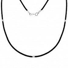 Шелковый крученый шнурок Мартина с серебряными элементами и застежкой, 2мм