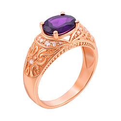 Кольцо в красном золоте с аметистом и фианитами 000104187