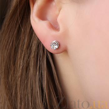 Серебряные серьги-пуссеты Кэтлин с фианитами 000043084