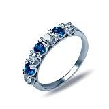 """Кольцо из серебра с синим и белым цирконием """"Луиза"""""""