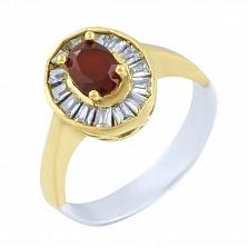 Кольцо из серебра и бронзы Филиппа с рубином и фианитами