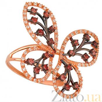 Кольцо из красного золота с коньячным цирконием Крылья бабочки VLT--ТТ1114-2
