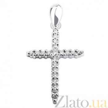 Декоративный крестик из белого золота с бриллиантами Калерия KBL--П067/бел/брил