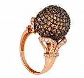 Кольцо из красного золота с коньячными фианитами Деспина