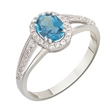 Золотое кольцо Шарлин с топазом и бриллиантами