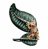 Золотое кольцо с рубинами, цаворитами и бриллиантами Царевна Лягушка