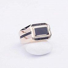 Золотое кольцо Монтгомери с ониксом и фианитами
