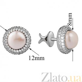 Серебряные серьги-пуссеты с жемчугом Зефир 2270/9р б жем