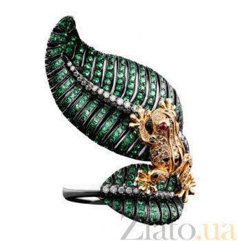 Золотое кольцо с рубинами, цаворитами и бриллиантами Царевна Лягушка KBL--К1824/комб/цав
