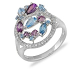 Золотое кольцо с аметистами, топазами и бриллиантами Матильда
