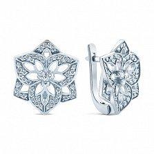 Серебряные серьги с цирконием Снежинки