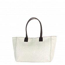 Кожаная сумка на каждый день Genuine Leather 8030 белого цвета с коричневыми ручками, на молнии