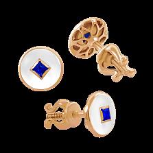 Серьги-пусеты с эмалью и сапфирами Solomia