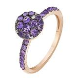 Кольцо в красном золоте Диана с аметистом и бриллиантами