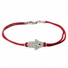Шелковый браслет Синеглазая Хамса с серебряной вставкой-ладошкой и фианитами