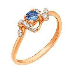 Кольцо из красного золота с танзанитом и бриллиантами 000139399