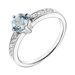 Серебряное кольцо с голубым топазом и фианитами 000140134