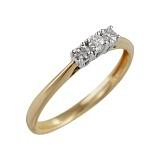 Золотое кольцо в желтом цвете с бриллиантами Шарм