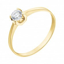 Кольцо из желтого золота Анжелика с кристаллом Swarovski