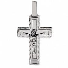 Крестик из серебра с чернением Иисус Спаситель