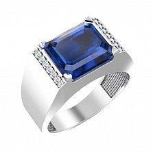 Перстень-печатка из белого золота Конфуций с синим кварцем и фианитами