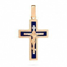 Золотой крестик Символ веры с синей эмалью и насечкой