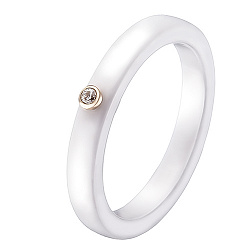 Кольцо в желтом золоте Ирма с керамикой и бриллиантом 000049565