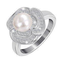 Серебряное кольцо с жемчугом и фианитами 000025493