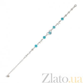 Серебряный браслет с голубыми фианитами Уитни 000027975