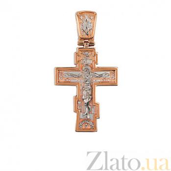 Золотой крестик с белым родированием Благая Весть VLT--КС3032-2