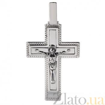 Крестик из серебра с чернением Иисус Спаситель HUF--3101-АЧ