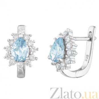 Серьги из серебра Пенелопа с голубым и белым цирконием 000024602