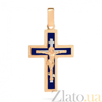 Золотой крестик Символ веры с синей эмалью и насечкой SUF--541131нсш