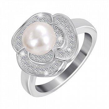 Срібна каблучка з перлами і фіанітами 000025493
