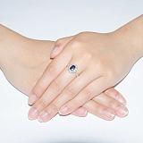 Серебряное кольцо с сапфиром и фианитами Ретро
