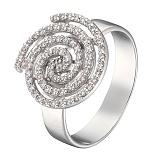 Кольцо в белом золоте Лабиринт с бриллиантами