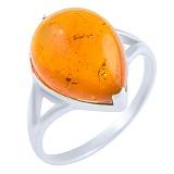Кольцо из серебра Леда с янтарем