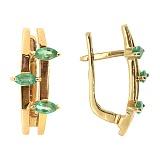 Золотые серьги с бриллиантами и изумрудами Гаянэ