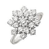 Кольцо из белого золота Солнечное соцветие с бриллиантами