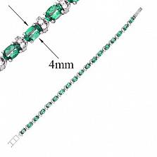 Серебряный браслет Фиолент с зеленым кварцем и фианитами