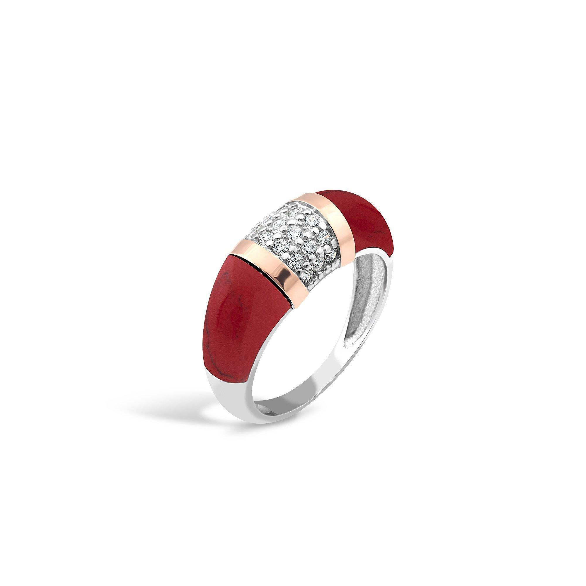 Серебряное родированное кольцо Моник с золотыми накладками, имитацией яшмы и фианитами