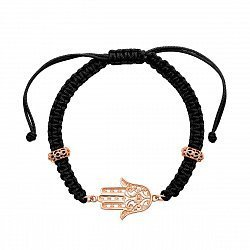 Текстильный браслет Хамса с золотыми вставками и цирконием 000126083