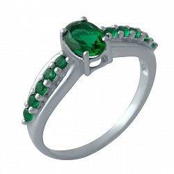 Серебряное кольцо с синтезированными изумрудами и родированием 000128901
