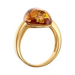 Серебряное кольцо с янтарем и позолотой 000137645