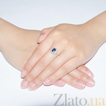 Серебряное кольцо с сапфиром и фианитами Ретро 1598/9р сапф