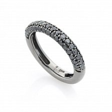 Золотое кольцо Эльвира с черными бриллиантами