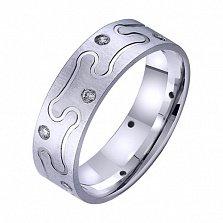 Золотое обручальное кольцо Праздник сердца с цирконием